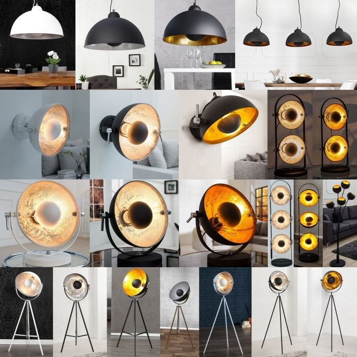 design retro lounge stehlampe stehleuchte spot schwarz gold 160cm h he neu ebay. Black Bedroom Furniture Sets. Home Design Ideas