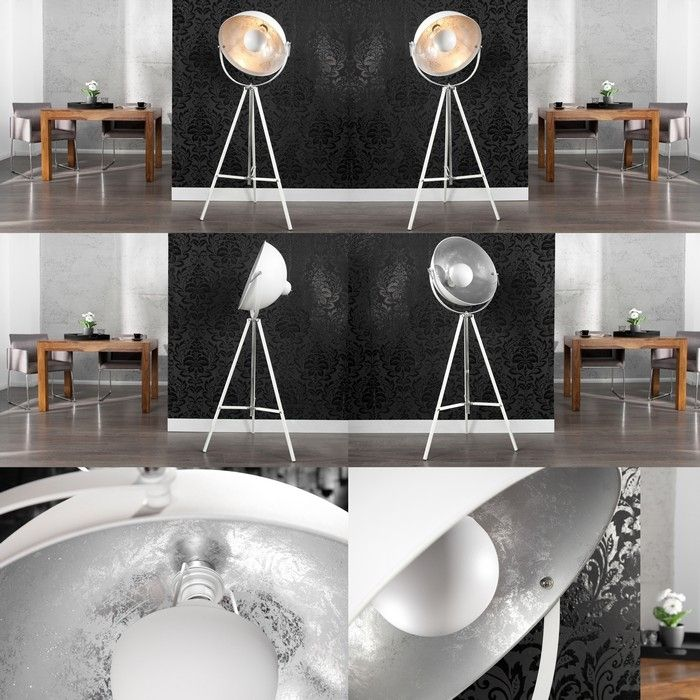 design retro lounge stehlampe stehleuchte spot weiss silber 160cm h he neu ebay. Black Bedroom Furniture Sets. Home Design Ideas