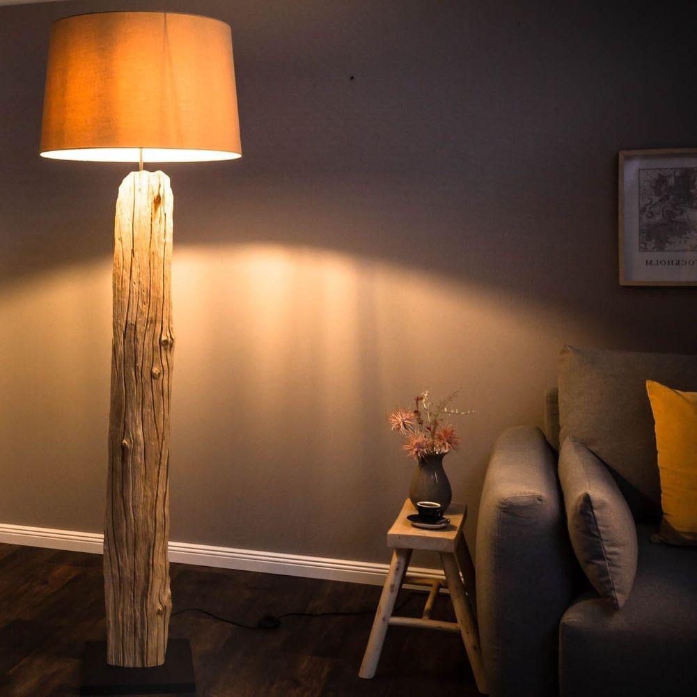 Stehlampe SUMATRA Beige aus Treibholz handgefertigt 175cm Höhe cagü ...
