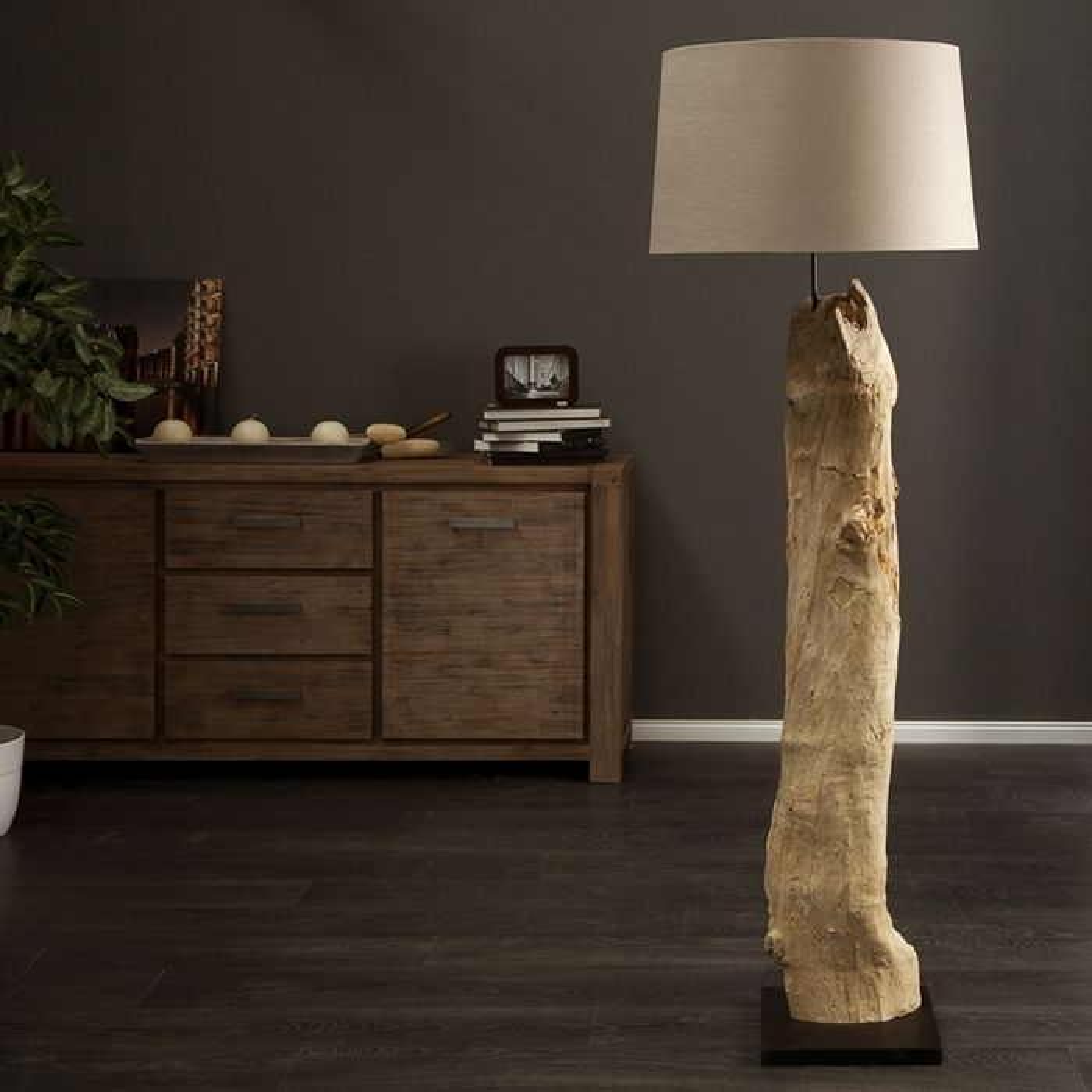Xl design stehlampe sumatra beige aus treibholz for Stehlampe designklassiker