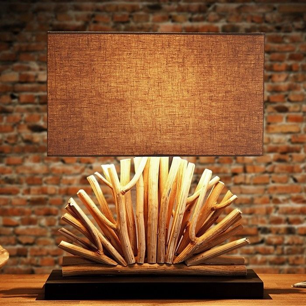tischlampe java beige aus treibholz handgefertigt 50cm. Black Bedroom Furniture Sets. Home Design Ideas