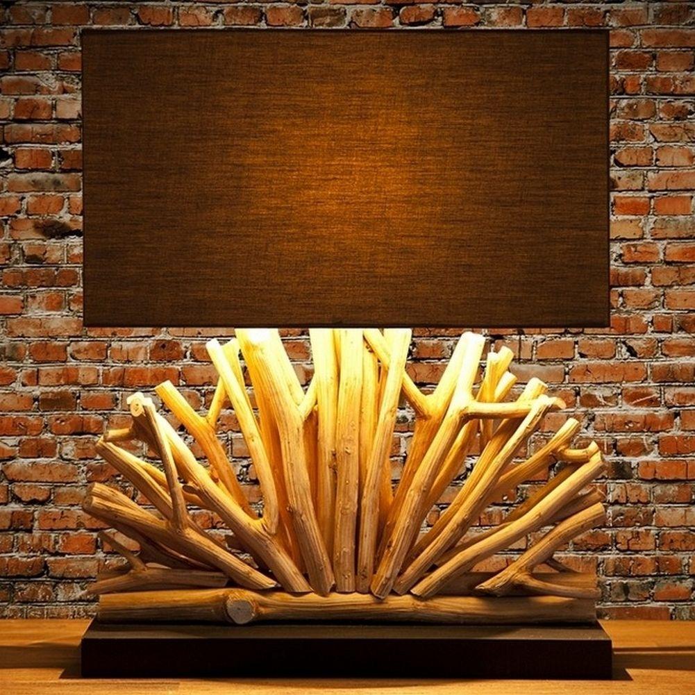 tischlampe java braun aus treibholz handgefertigt 50cm. Black Bedroom Furniture Sets. Home Design Ideas