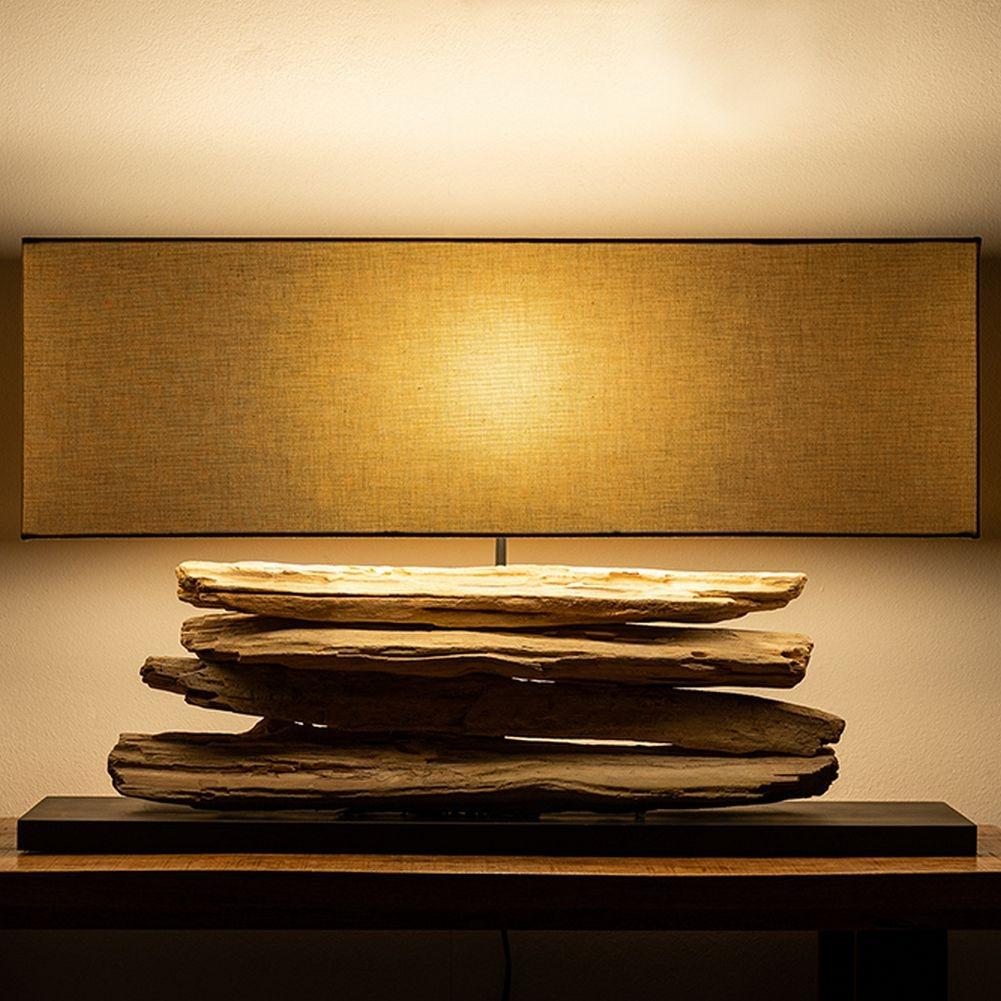 xl tischlampe timor beige aus treibholz handgefertigt 80cm. Black Bedroom Furniture Sets. Home Design Ideas