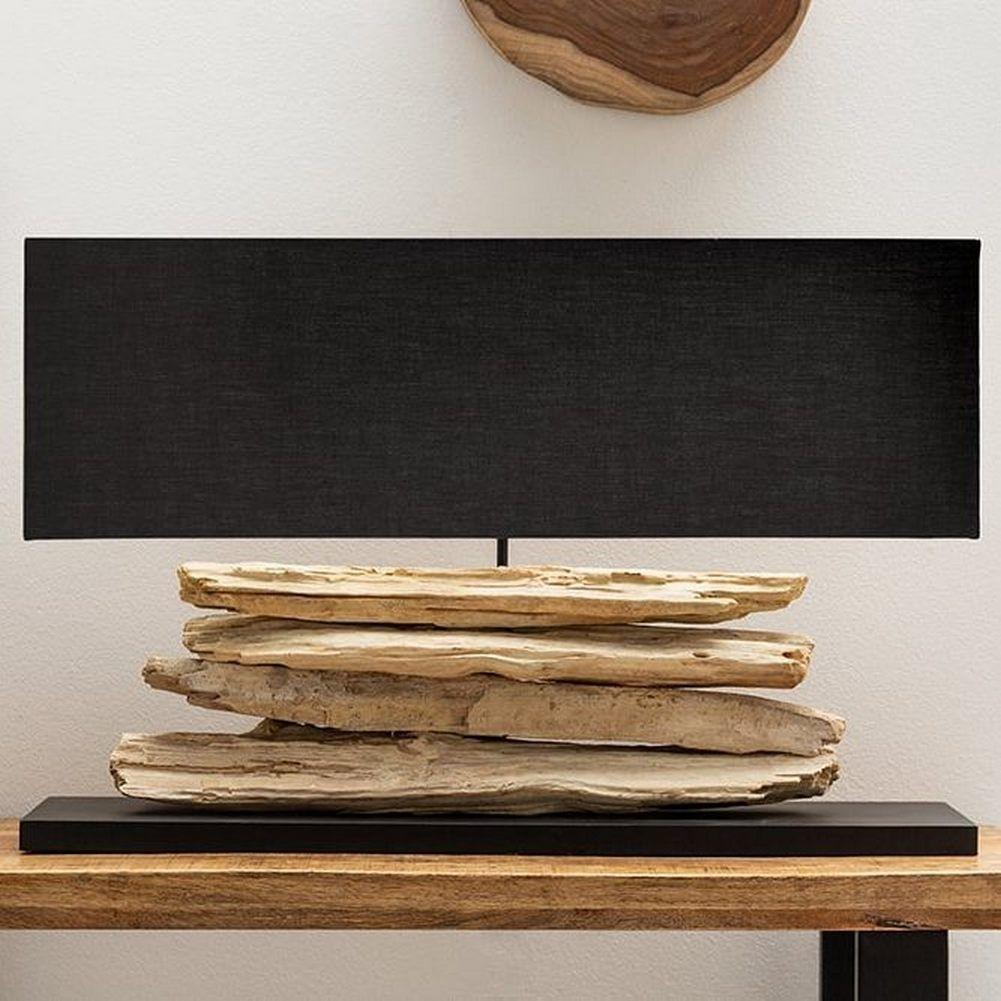 xl tischlampe timor schwarz aus treibholz handgefertigt. Black Bedroom Furniture Sets. Home Design Ideas