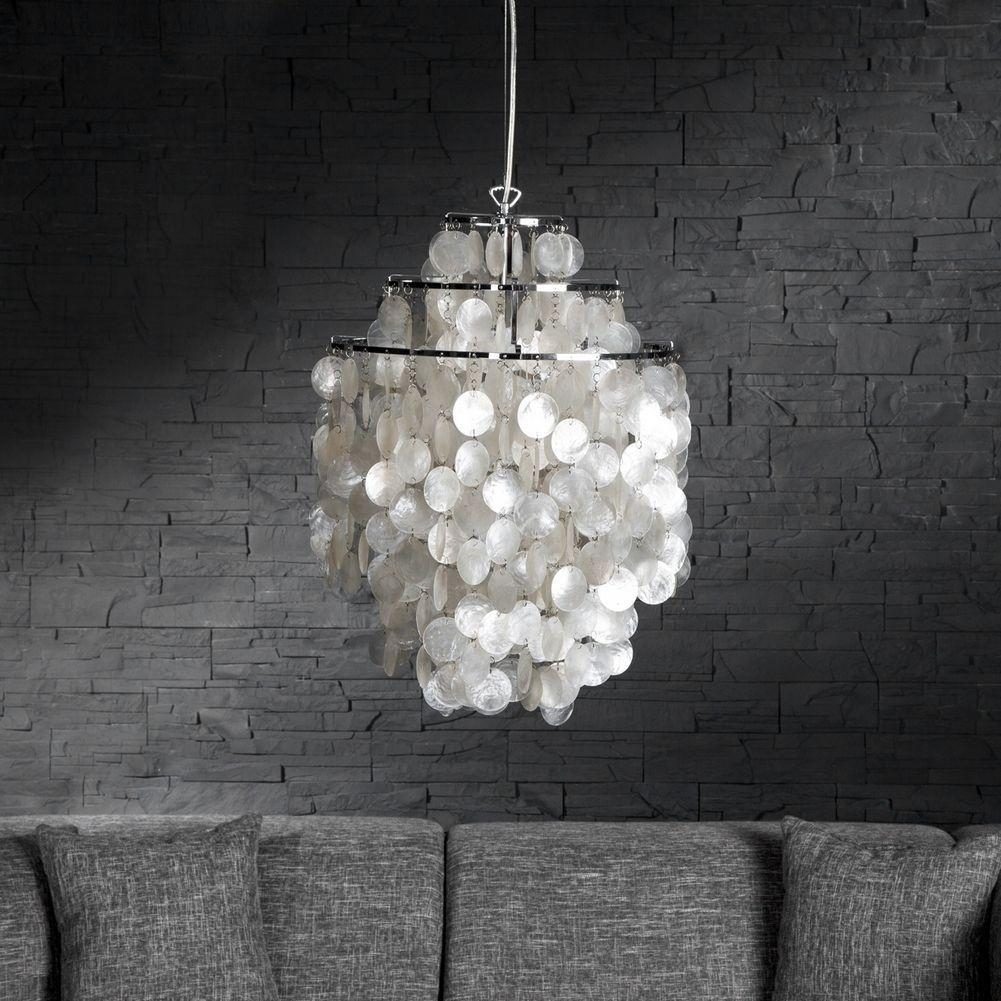 design h ngelampe shell wei 64cm h he portofrei kaufen. Black Bedroom Furniture Sets. Home Design Ideas