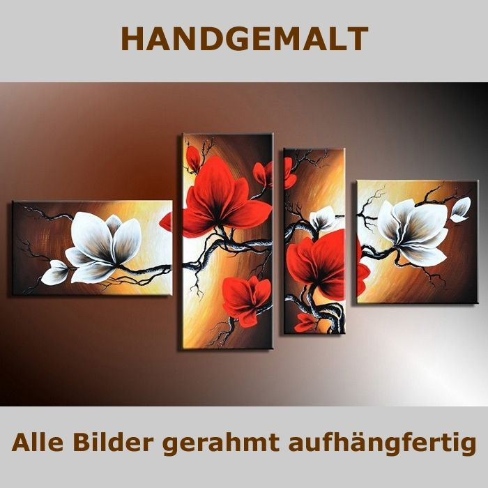 4 leinwandbilder blumen 1 140 x 80cm handgemalt cag. Black Bedroom Furniture Sets. Home Design Ideas