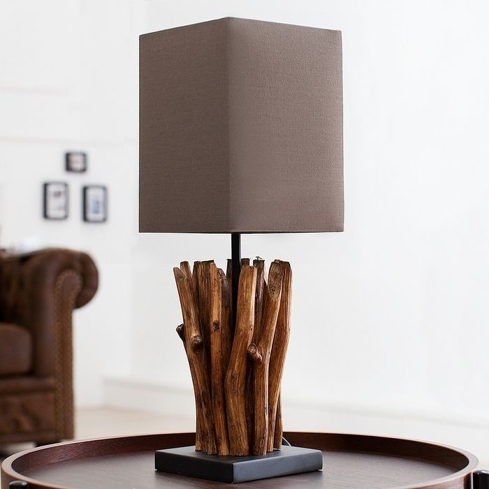 xl tischlampe jakarta braun aus treibholz handgefertigt. Black Bedroom Furniture Sets. Home Design Ideas