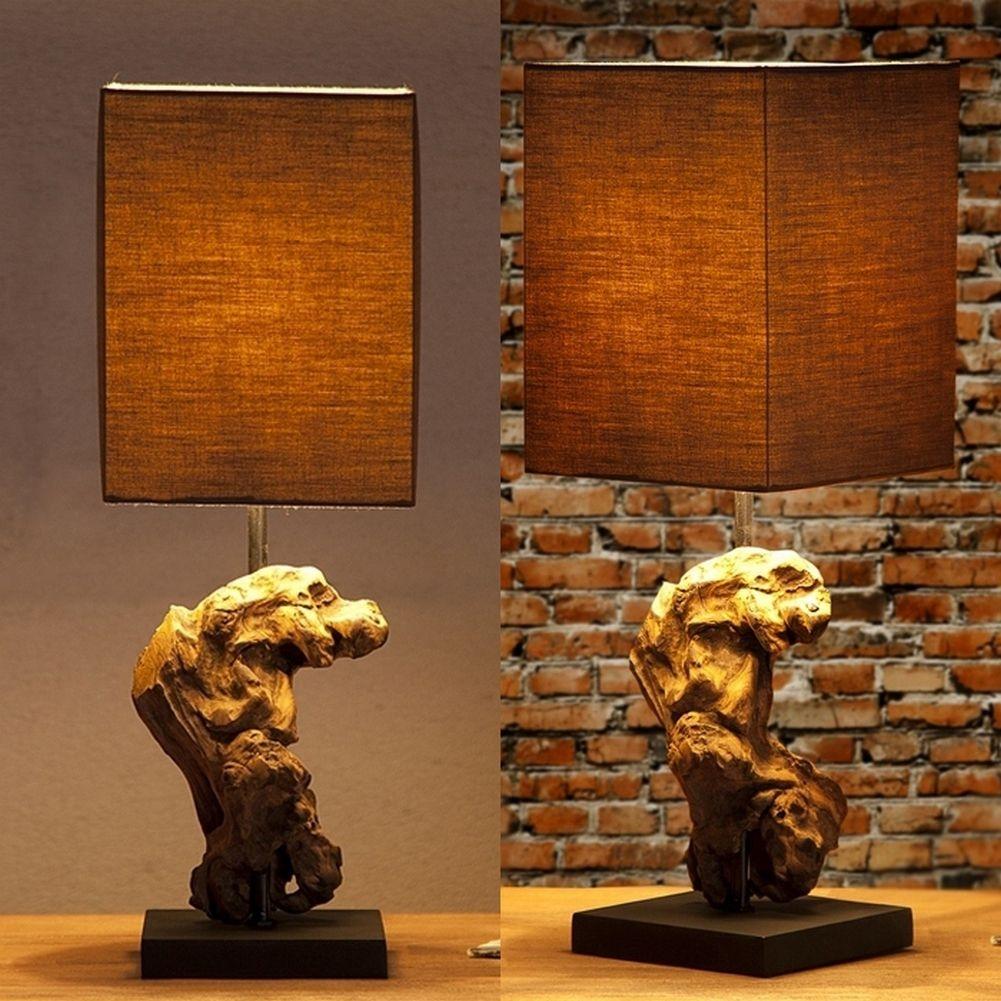tischlampe medan grau braun aus treibholz handgefertigt. Black Bedroom Furniture Sets. Home Design Ideas
