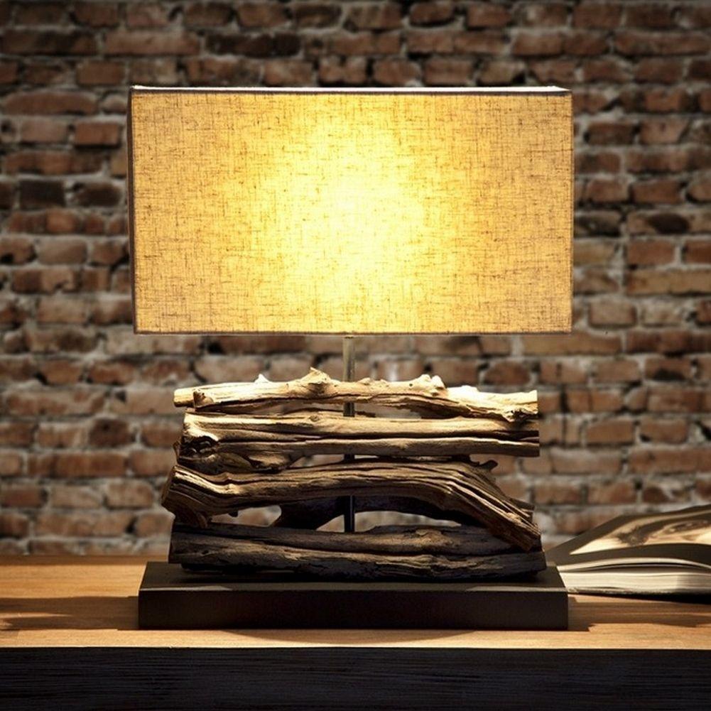 tischlampe ambon beige aus treibholz handgefertigt 40cm. Black Bedroom Furniture Sets. Home Design Ideas