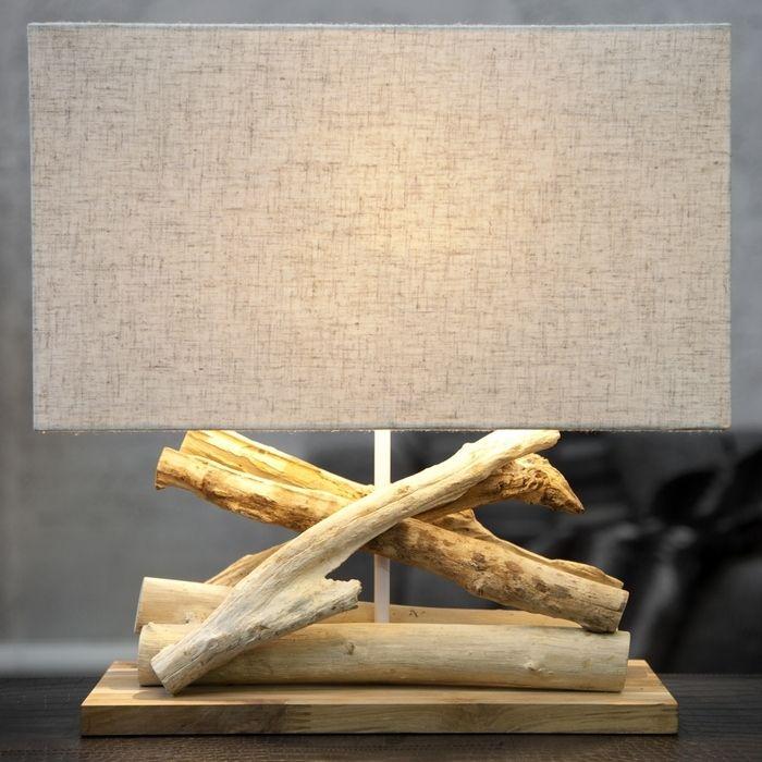 tischlampe kulim beige aus treibholz handgefertigt 40cm. Black Bedroom Furniture Sets. Home Design Ideas