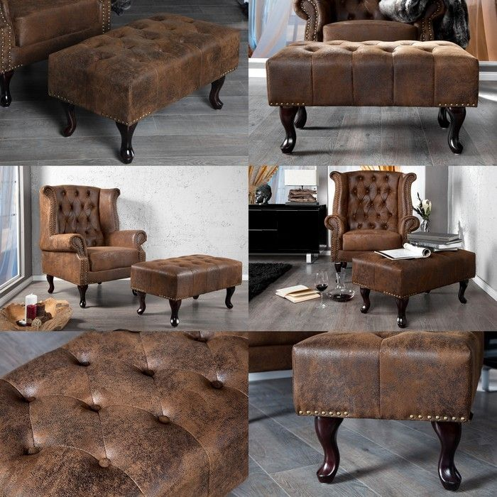 hocker chesterfield winchester braun portofrei bestellen cag design m bel onlineshop. Black Bedroom Furniture Sets. Home Design Ideas