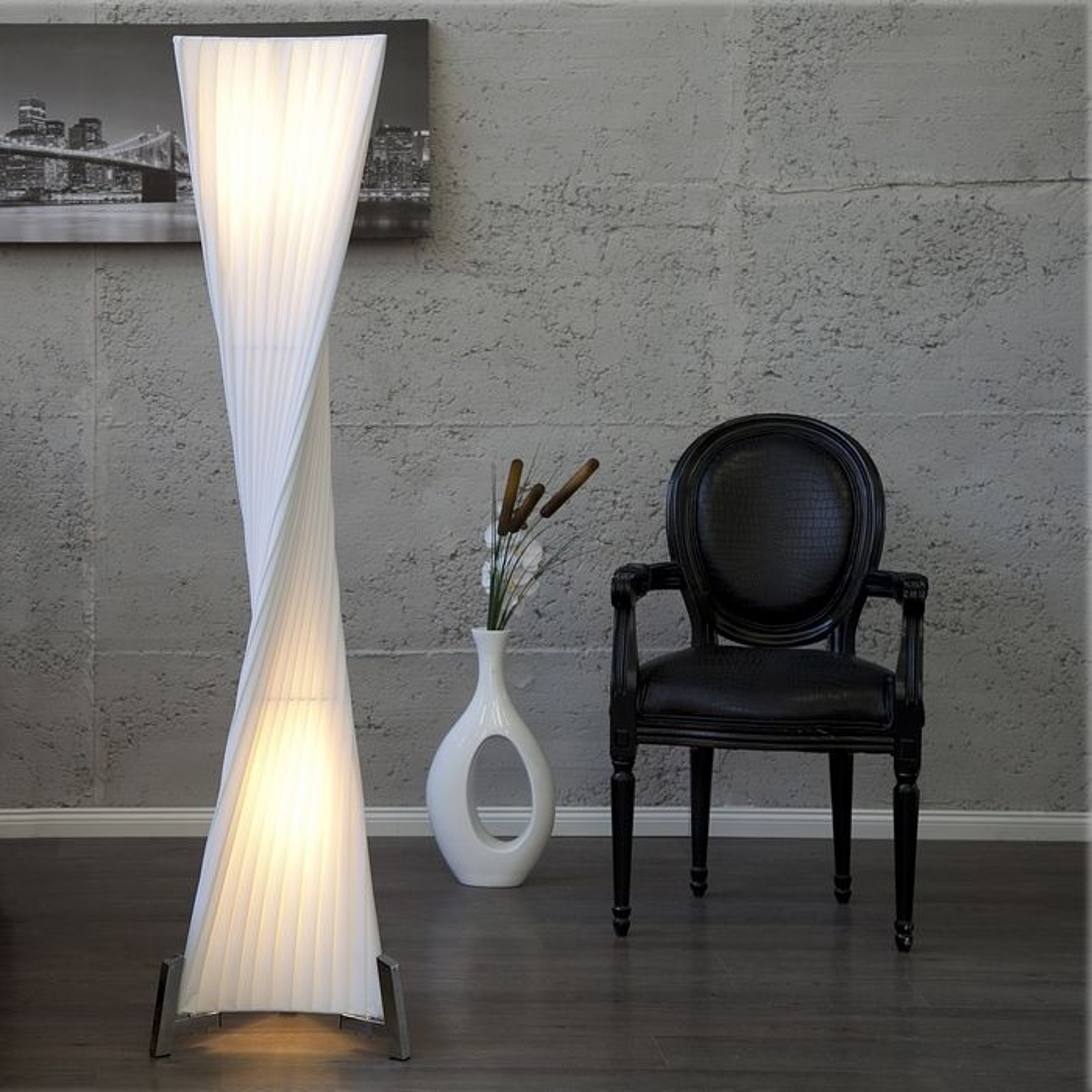 xl design plissee stehlampe stehleuchte loop weiss kegelform helix 160cm h he ebay. Black Bedroom Furniture Sets. Home Design Ideas