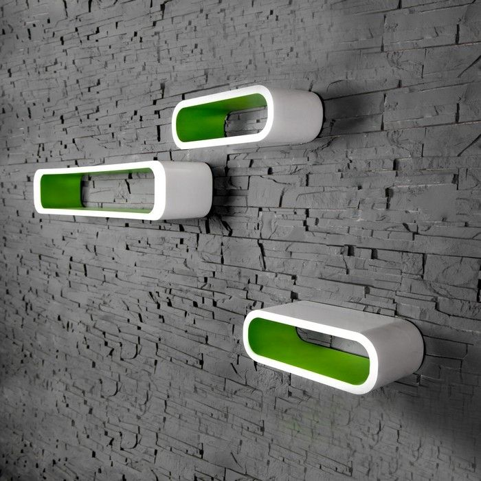Design retro lounge 3er set wandcuben wand cuben jupiter - Arbeitszimmer grun ...