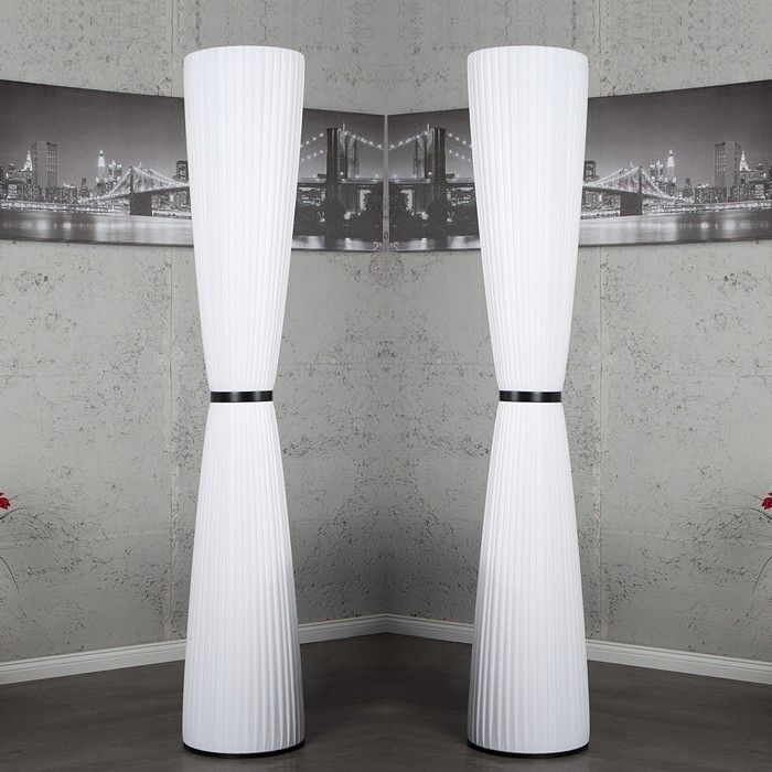 xl designer plissee stehlampe stehleuchte loop weiss rund 165cm h he neu ebay. Black Bedroom Furniture Sets. Home Design Ideas