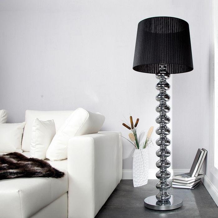 Xl design stehlampe stehleuchte diva chrom schwarz for Stehlampe designklassiker