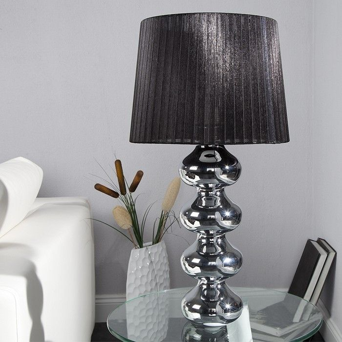 design tischlampe diva chrom organza schirm schwarz 68cm. Black Bedroom Furniture Sets. Home Design Ideas