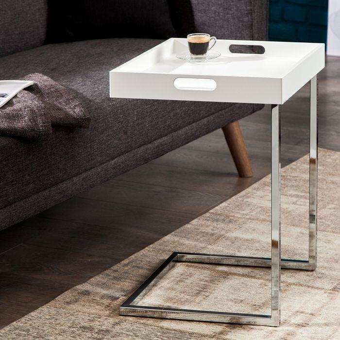 Design beistelltisch lumix wei mit abnehmbarem tablett for Beistelltisch unter couch schieben