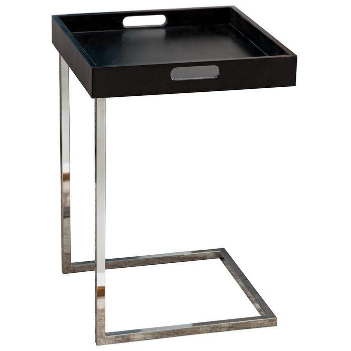 Design beistelltisch lumix schwarz mit abnehmbarem tablett for Beistelltisch unter couch schieben