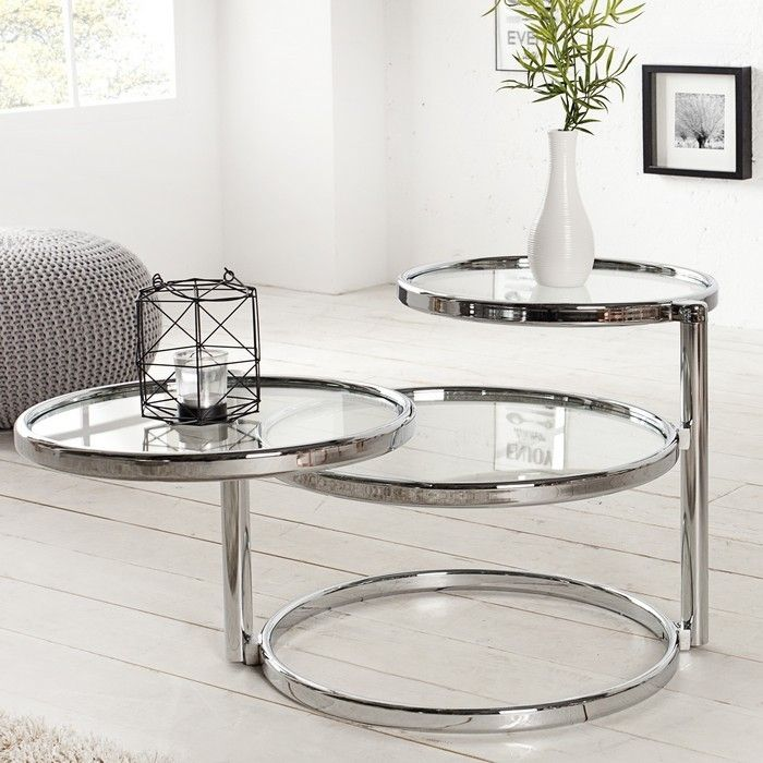 3 ebenen beistelltisch couchtisch saturnus chrom glas drehbar 55cm 155cm ebay. Black Bedroom Furniture Sets. Home Design Ideas