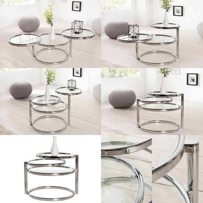 3 ebenen beistelltisch saturnus aus chrom und glas drehbar. Black Bedroom Furniture Sets. Home Design Ideas