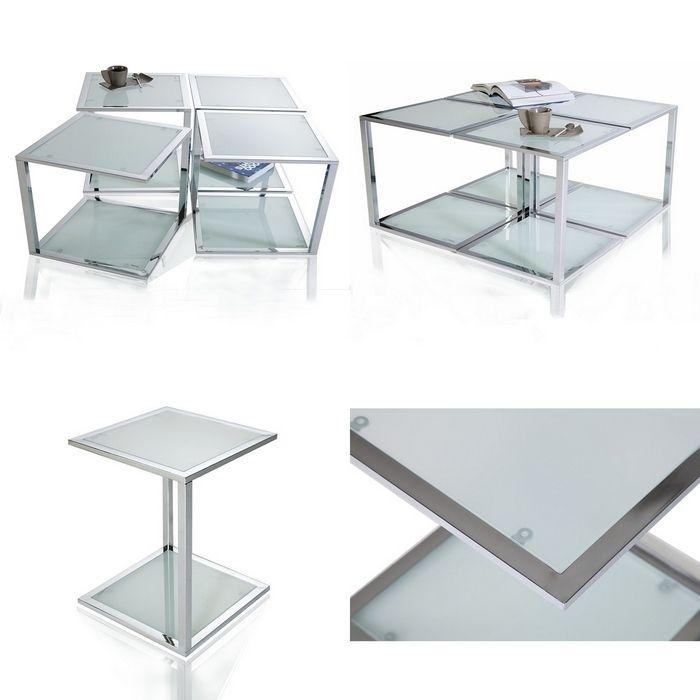 designer retro lounge beistelltisch couchtisch cubo aus glas 40cm neu. Black Bedroom Furniture Sets. Home Design Ideas