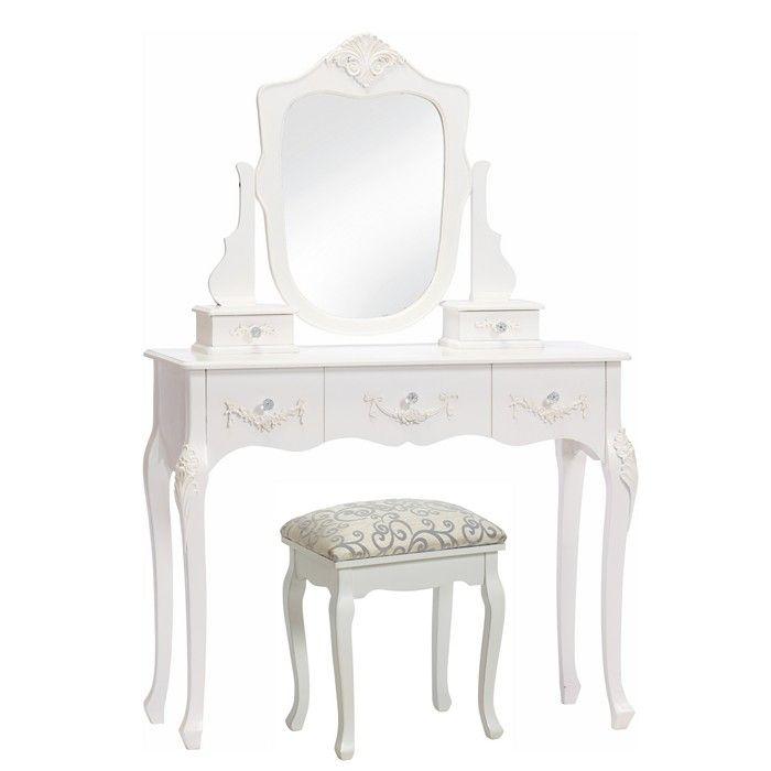 frisiertisch lucile wei inkl spiegel portofrei g nstig. Black Bedroom Furniture Sets. Home Design Ideas