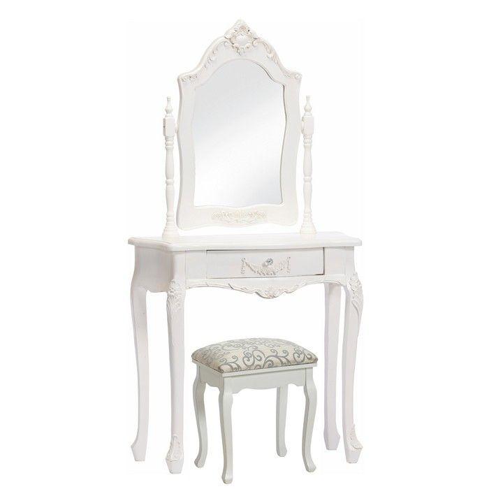frisiertisch amelle wei inkl spiegel portofrei g nstig. Black Bedroom Furniture Sets. Home Design Ideas