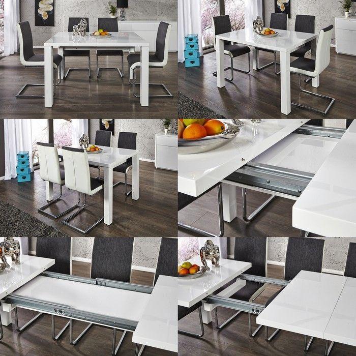 esstisch lucia wei hochglanz 120 200cm ausziehbar portofrei g nstig kaufen cag design m bel. Black Bedroom Furniture Sets. Home Design Ideas