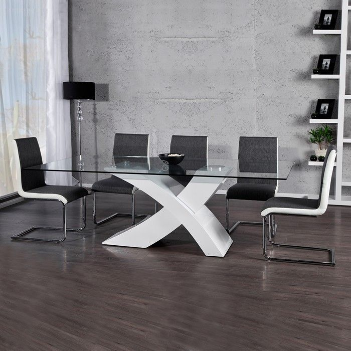 designer esstisch wing weiss hochglanz high gloss mit glasplatte 200cm neu ebay. Black Bedroom Furniture Sets. Home Design Ideas