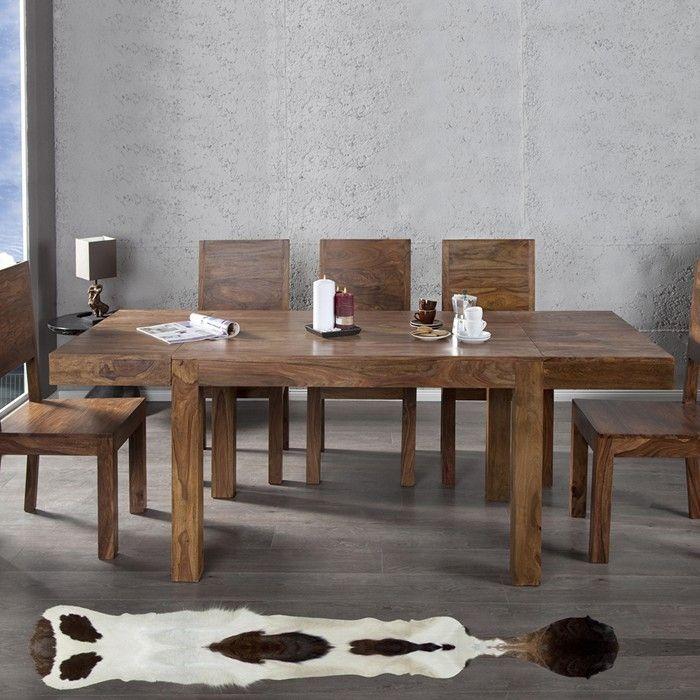 esstisch mumbai sheesham massiv holz gewachst inkl 2 ansteckplatten 120 200cm. Black Bedroom Furniture Sets. Home Design Ideas