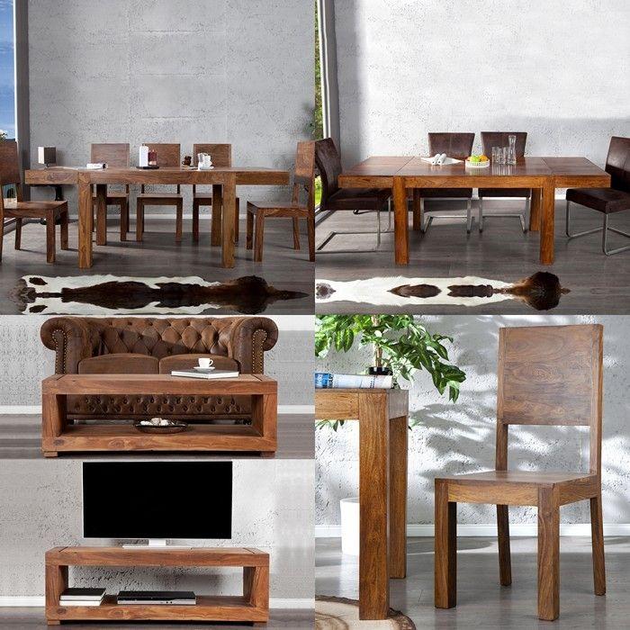 tv tisch fernsehtisch mumbai aus sheesham massiv holz gewachst 120cm neu ebay. Black Bedroom Furniture Sets. Home Design Ideas
