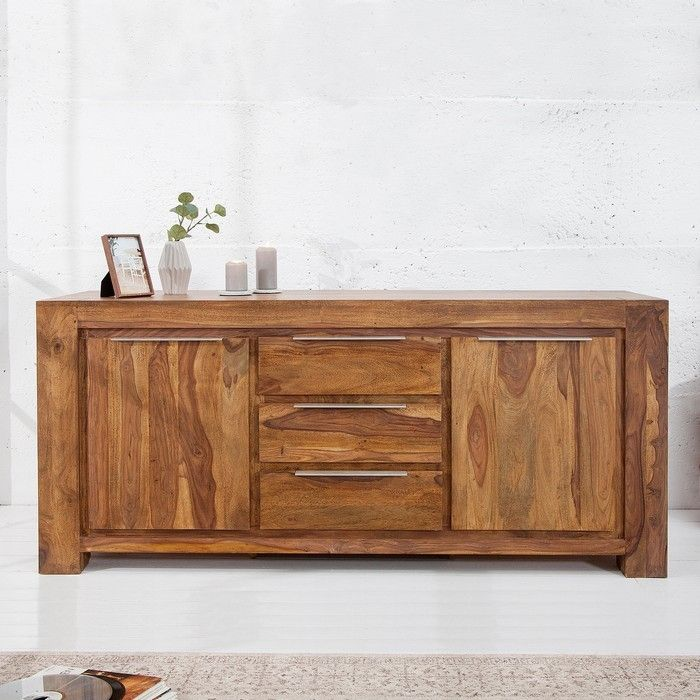 xxl sideboard kommode agra aus sheesham massiv holz gewachst 180cm neu ebay. Black Bedroom Furniture Sets. Home Design Ideas