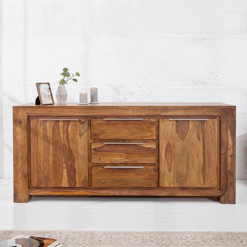 xxl sideboard kommode agra aus sheesham massiv holz gewachst 180cm neu ebay. Black Bedroom Furniture Sets. Home Design Ideas