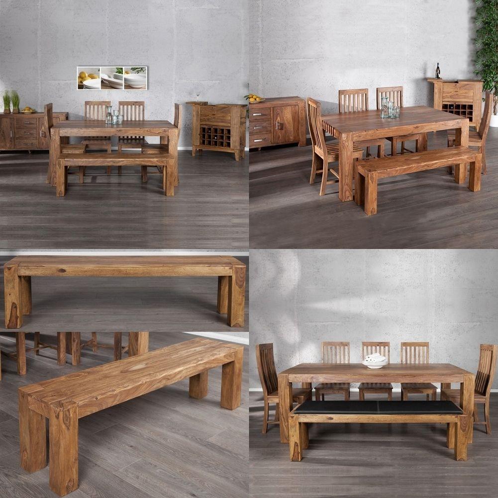 sitzbank bank salem aus sheesham massiv holz gewachst 140cm neu ebay. Black Bedroom Furniture Sets. Home Design Ideas