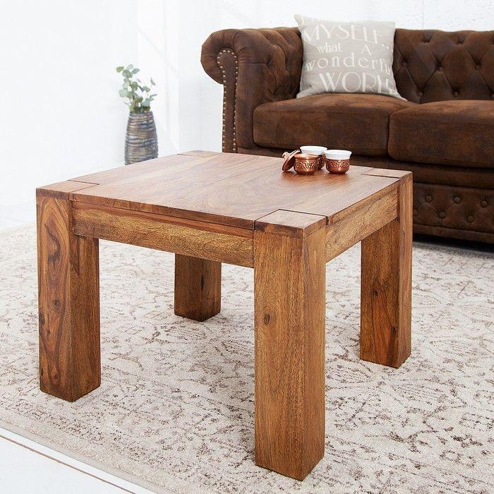 couchtisch beistelltisch salem sheesham massiv holz gewachst 60cm x 60cm neu. Black Bedroom Furniture Sets. Home Design Ideas