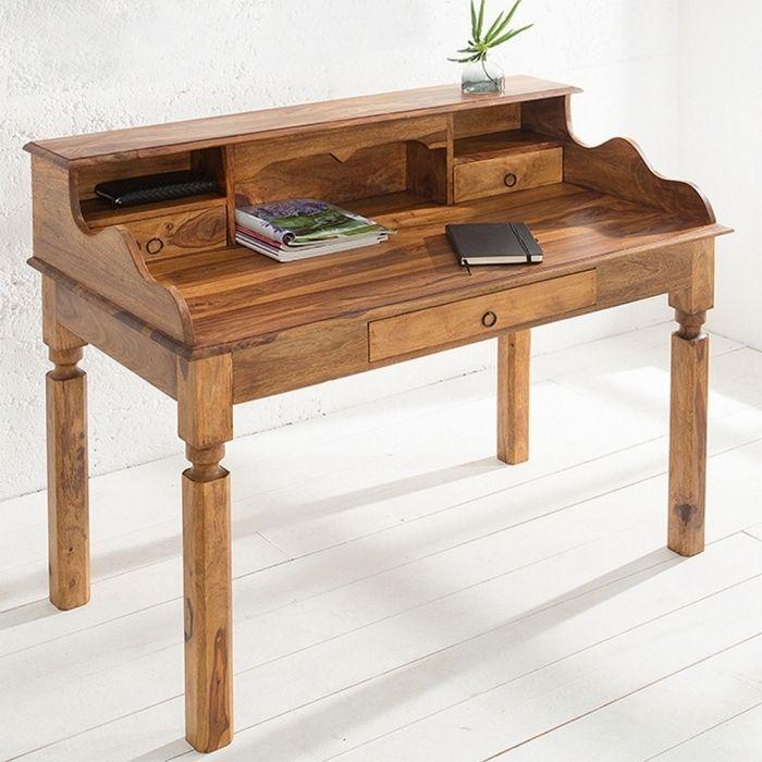 sekret r schreibtisch salem aus sheesham massiv holz gewachst 115cm neu ebay. Black Bedroom Furniture Sets. Home Design Ideas