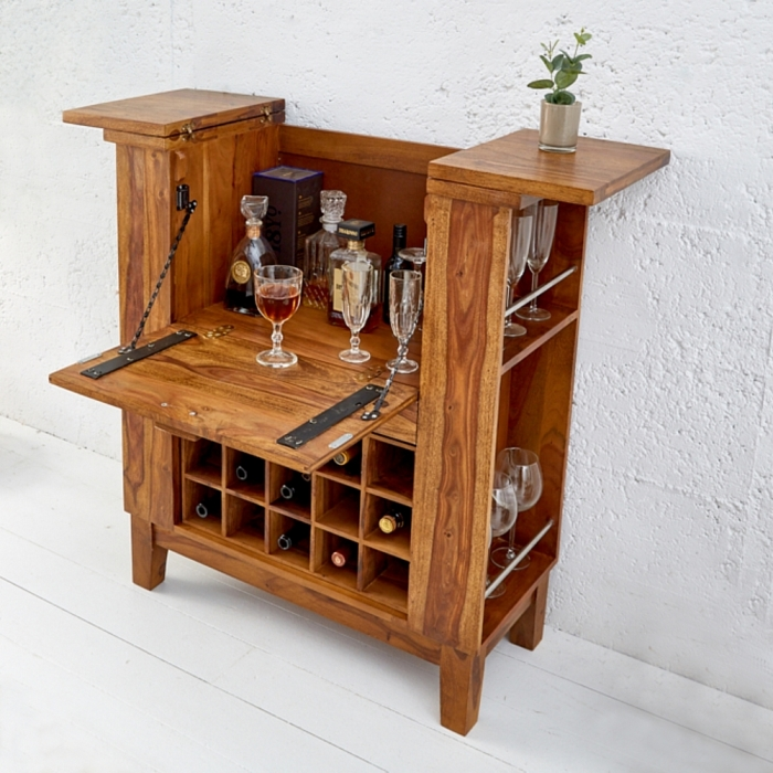 exklusive bar bartisch salem aus sheesham massiv holz gewachst 85cm x 93cm neu ebay. Black Bedroom Furniture Sets. Home Design Ideas