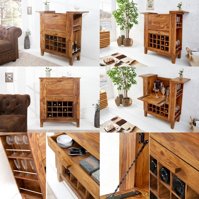 exklusive bar barschrank salem aus sheesham massiv holz gewachst 85cm x 93cm ebay. Black Bedroom Furniture Sets. Home Design Ideas