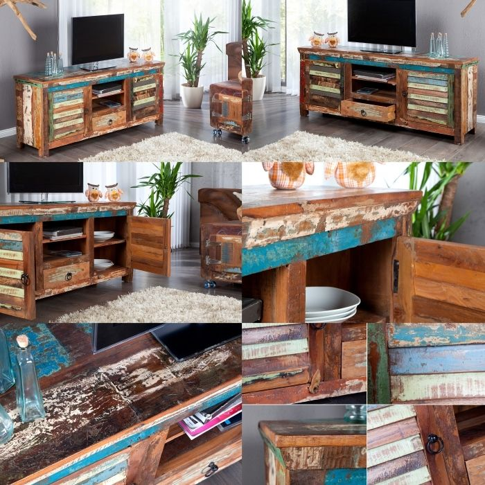 tv tisch fernsehtisch borneo aus recyceltem teak massivholz 150cm neu ebay. Black Bedroom Furniture Sets. Home Design Ideas