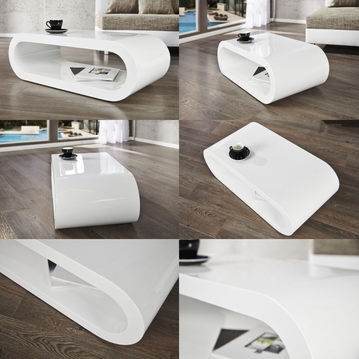 design lounge coffee table side table cuben eliptica white high gloss 90cm new ebay. Black Bedroom Furniture Sets. Home Design Ideas
