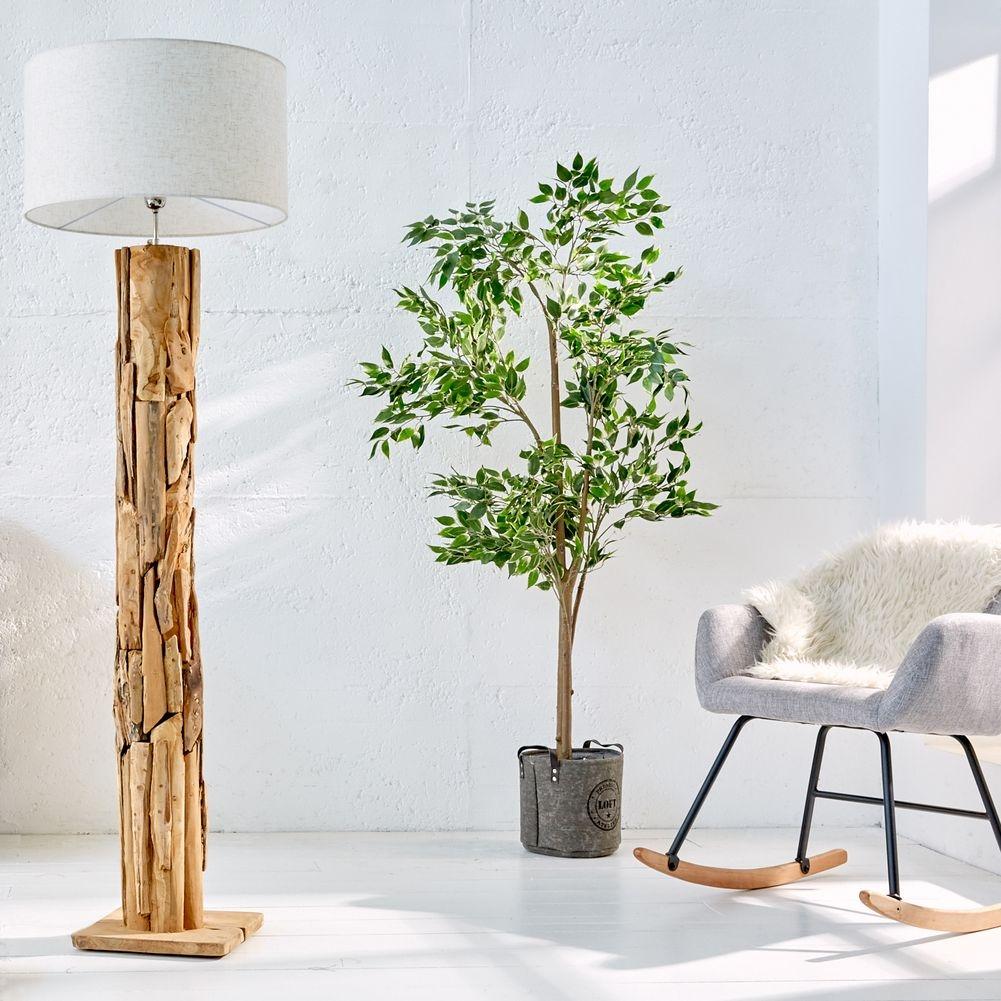 Handgefertigte XL-Stehlampe aus Teakholz