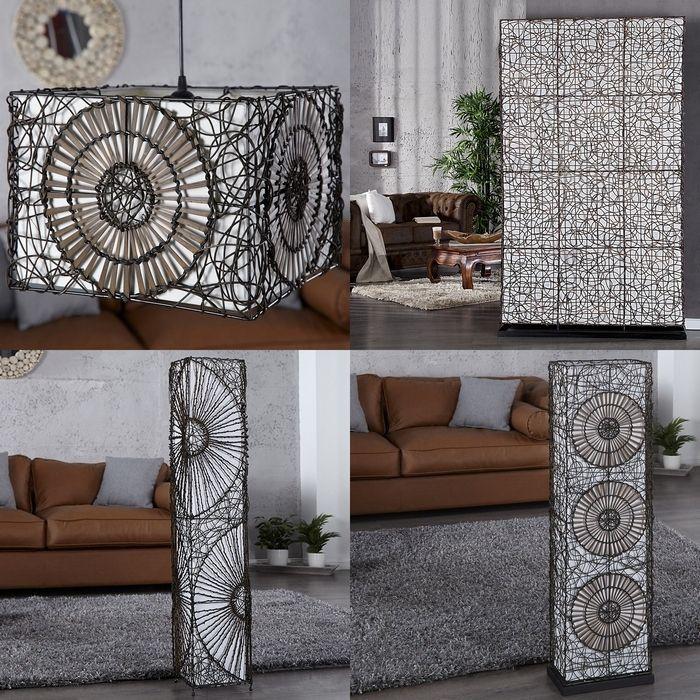 xxl stehlampe stehleuchte zaidi wei braun aus rattan. Black Bedroom Furniture Sets. Home Design Ideas