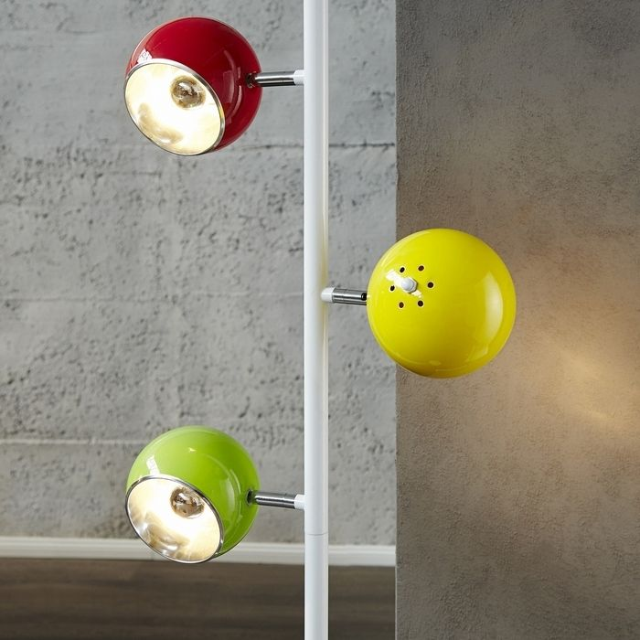design retro lounge 3er stehlampe stehleuchte uranus weiss bunt 165cm h he ebay. Black Bedroom Furniture Sets. Home Design Ideas