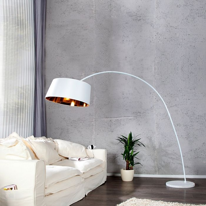 xxl design bogenlampe stehlampe luxor weiss gold. Black Bedroom Furniture Sets. Home Design Ideas