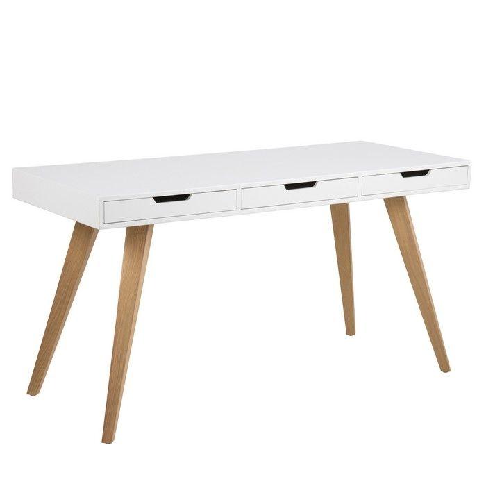 schreibtisch stella wei mit 3 schubladen und esche beine 140cm portofrei g nstig online. Black Bedroom Furniture Sets. Home Design Ideas