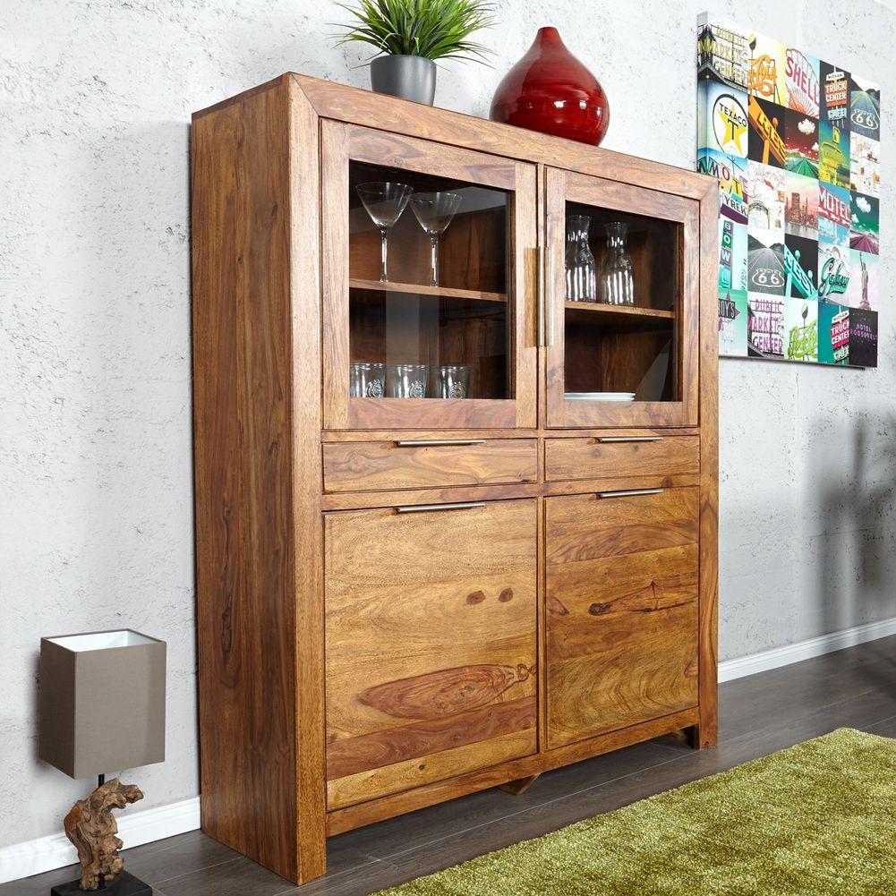 vitrine satna sheesham massiv holz gewachst 120cm x 140cm portofrei kaufen cag onlineshop. Black Bedroom Furniture Sets. Home Design Ideas