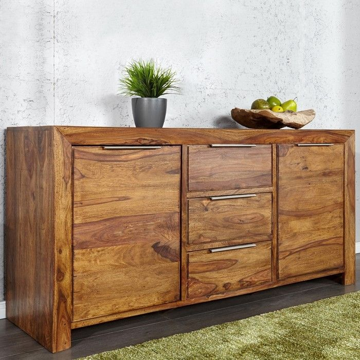 sideboard satna sheesham massiv holz gewachst 140cm. Black Bedroom Furniture Sets. Home Design Ideas