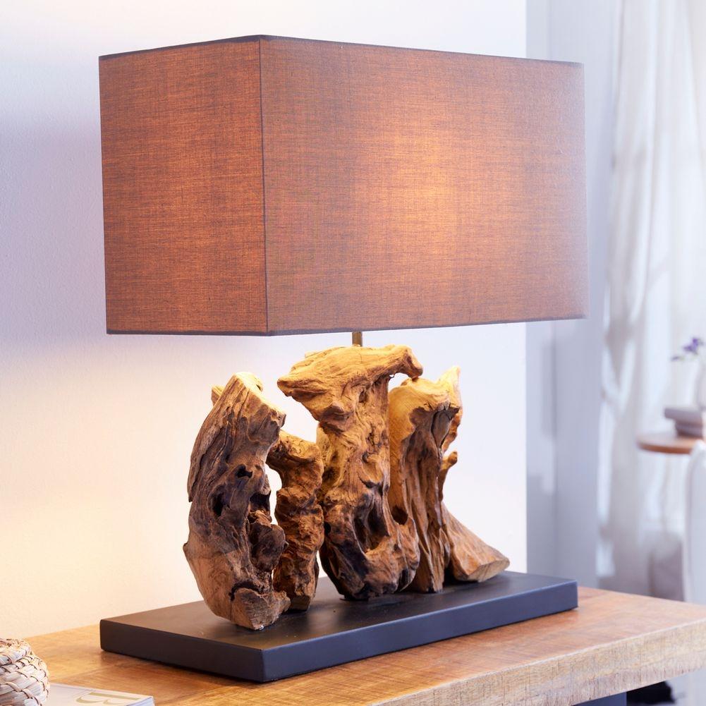 Tischlampe 'BANDAR' aus Treibholz in Handarbeit gefertigt