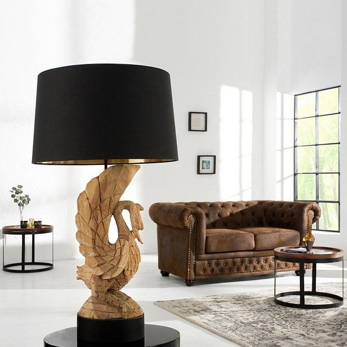 handgeschnitzte tischlampe schwan odile schwarz gold aus akazie massivholz 90cm h he portofrei. Black Bedroom Furniture Sets. Home Design Ideas