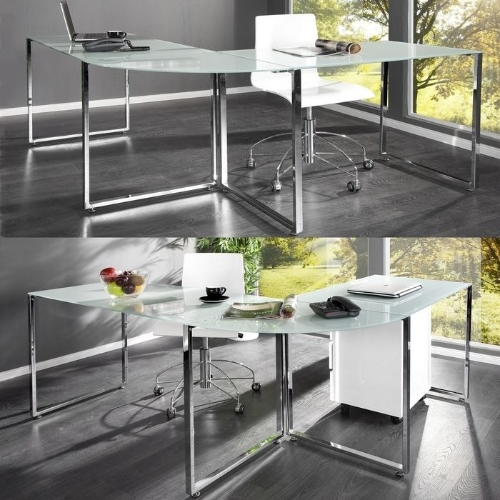design schreibtisch eckschreibtisch manhattan weiss glas chrom 180cm 160cm ebay. Black Bedroom Furniture Sets. Home Design Ideas